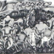 G. Gurbanov. Camels. Lithography. 1978