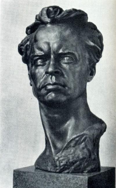 G.V. pivovarov. Film director A.P. Dovzhenko. Bronze. 1940