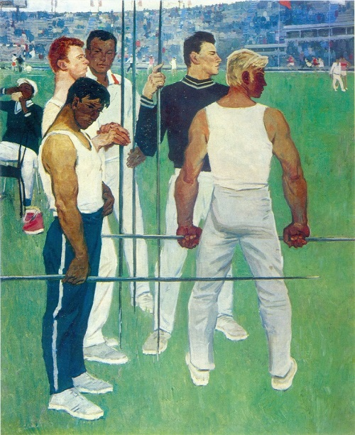 GA Pesis (b. 1928) Competition is held. 1971. Oil on canvas