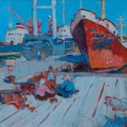 Gennady Sevostyanov (1938 - 2003). Port. City of Kerch. Canvas, oil. 1967