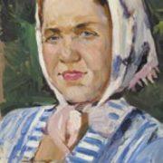 German Melentiev. Portrait of a woman in a headscarf. 1960s