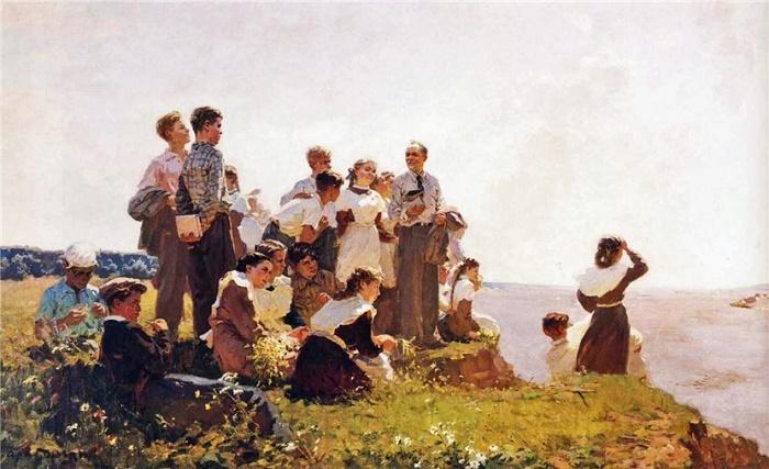 Graduates (Wishing happy way). 1953. Painting by Gleb Ivanovich Barabanshchikov