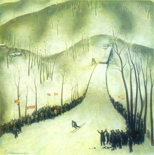 Hassan Dursunovich Inaishvili (born 22.09.1942) Successful jump. 1975. Oil on canvas
