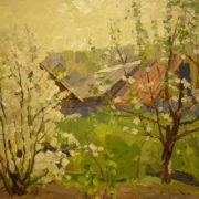 I.V. Rafikov (1929). Apple trees in bloom, 1980s (cardboard, oil)