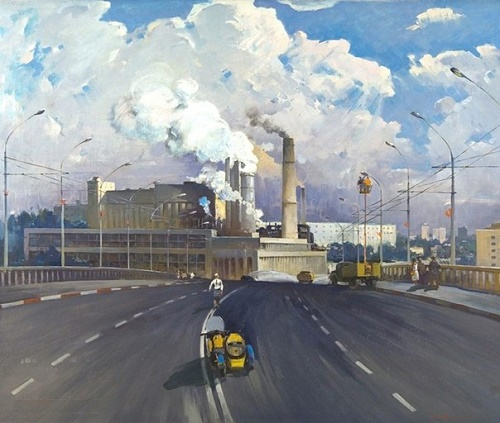 Igor Limakov (1932 - 1994). Morning of industrial Tashkent. 1977