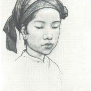 Ilya Glazunov. Portrait of Lang Thi Hien, participants of a meeting Uncle Ho grandchildren. From the 'Vietnam' series. Coal. 1967