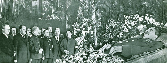 In the Hall of Columns of the House of Unions on March 6, 1953. The leaders of the Party and the Government at the coffin of Joseph Vissarionovich Stalin