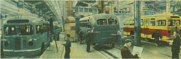 In the shop of assembling and painting buses ZIS-55 at the Moscow Automobile Plant named after Stalin