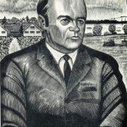 Ionas Mikolo Kuzminskis. (born 1906). Portrait of a kolkhoz chairman 'By Leninist path' A.I. Slavenskas. 1971. Cut engraving