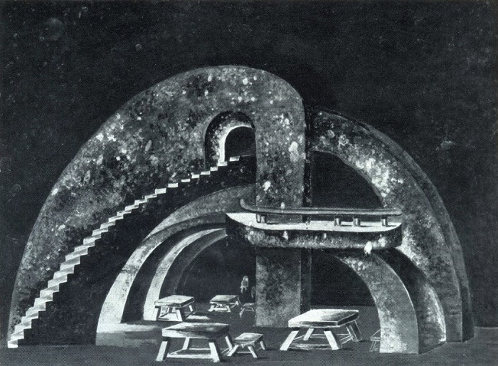 Irakly Gamrekeli (1894-1943). Sketch of scenery for the drama of F. Schiller Robbers. Watercolor, gouache. Georgian Theater named after Shota Rustaveli. Tbilisi. 1933