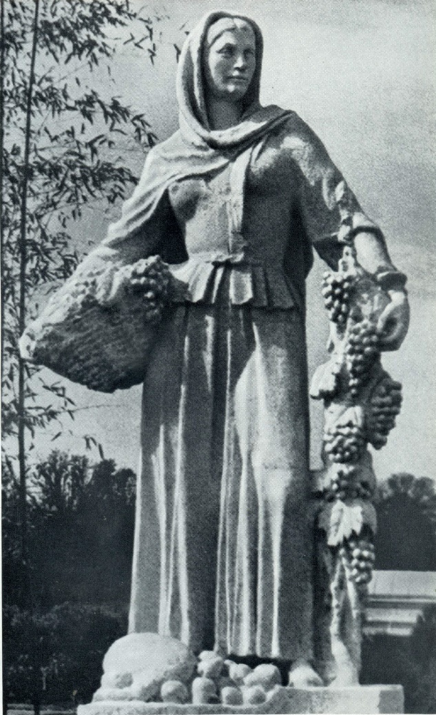 Khaz-Bulat Askar-Sarydzha (1900-1982). Collective farmer. The statue at the pavilion of the Azerbaijan SSR at VDNH in Moscow. Gypsum. 1939