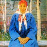 LA Kim. Portrait of Mother - Heroine VM Tarabukina. 1978