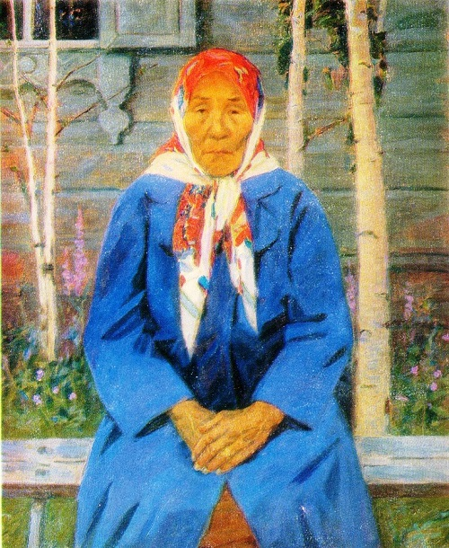 LA Kim. Portrait of Mother - Heroine VM Tarabukina. 1978