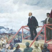 Lenin speaking in front of workers. 1972. Oil on canvas