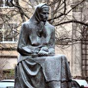 Lithuanian people's writer Julia Zemaite monument. Sculptor Petras Aleksandavichus. 1971