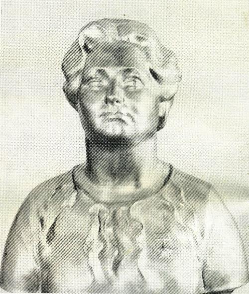 M. Pavlovsky. Portrait of a Hero of Socialist Labor spinner V. Cherkashina. Aluminum. 1985