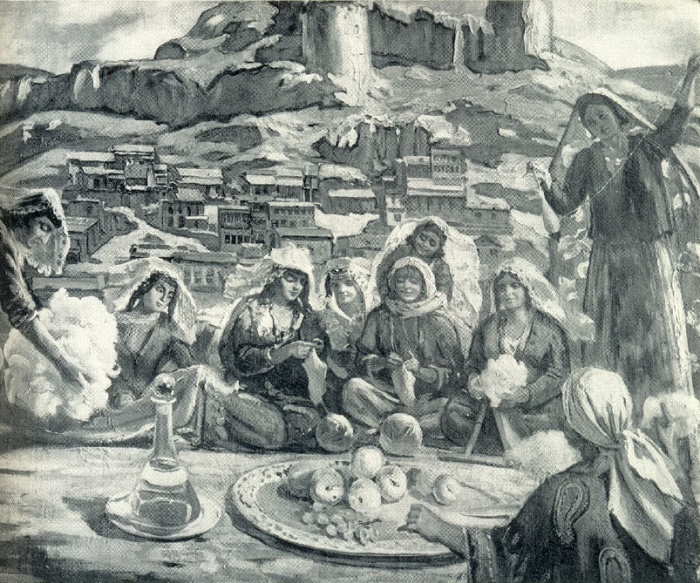 M. Toidze. Women of Georgia are preparing gifts to the front. 1945 (fragment)