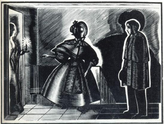 M.I. Polyakov. to the story of Gogol 'Nevsky Prospekt'. Engraving on the wood. 1931