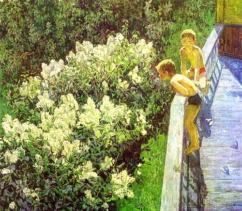 MK Kopytseva. Summer day. Lilac blooms. 1981. Oil on canvas
