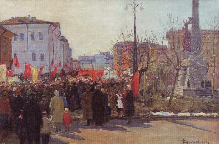 May Day demonstration at the Obelisk to North on Vinogradov Avenue. 1954