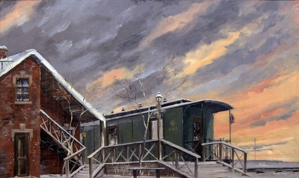 Mikhail Varpekh (1909 -1985). Crimson clouds with the wagon. 1956