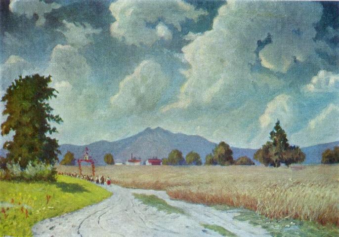 N.G. Burachek. Road to collective farm. 1937