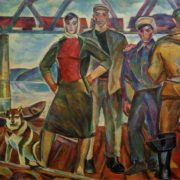 N.I. Andronov. Raftsmen. 1961. Oil on canvas. Tretyakov Gallery