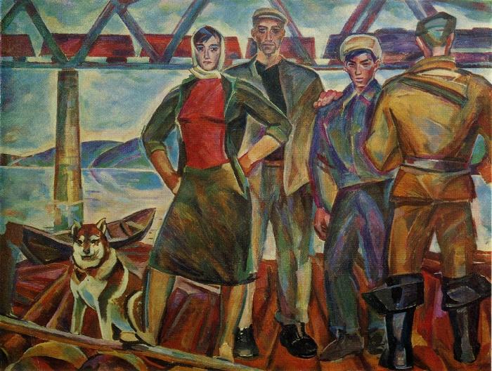 N.I. Andronov. Raftsmen. 1961. Oil on canvas. Tretyakov Gallery