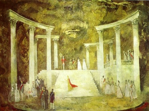 NN Zolotarev (Moscow). Sergei Prokofiev. War and Peace. Set Design. 1981. Tempera on cardboard