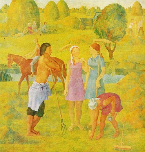 NV Toktaulov. Haymaking. 1975. One-picture artists Soviet art gallery