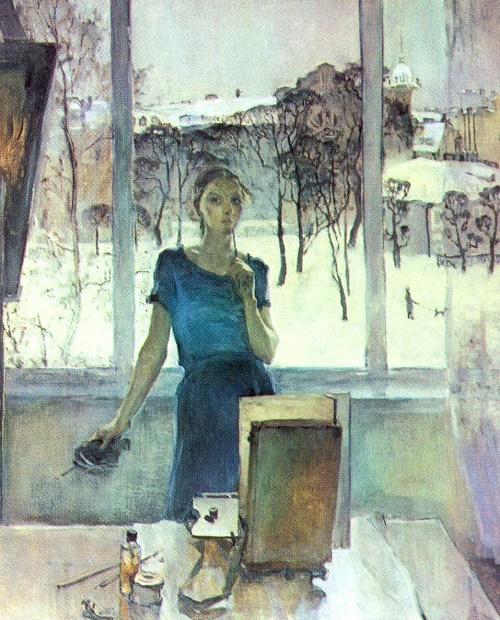 O. Kolesina. Self-portrait. Oil. Graduate work. 1983