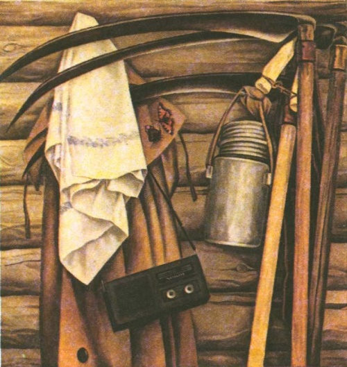 O. Pavlikov (Saransk). Returning from mowing. Oil. 1987