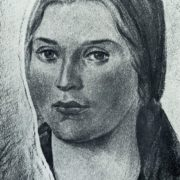 O.T. Pavlenko. A portrait of a woman, a sketch for painting the conference room of the Council of People's Commissars of the Kirghiz SSR in the city of Frunze. Fresco. 1940