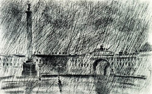 OI Grechkin (Leningrad). Palace Square. From the 'Leningrad' series. 1978-1980. Etching