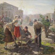 On subbotnik (volonteers cleaning the city and planting trees). painting by Vasily Zuyev. 1950s