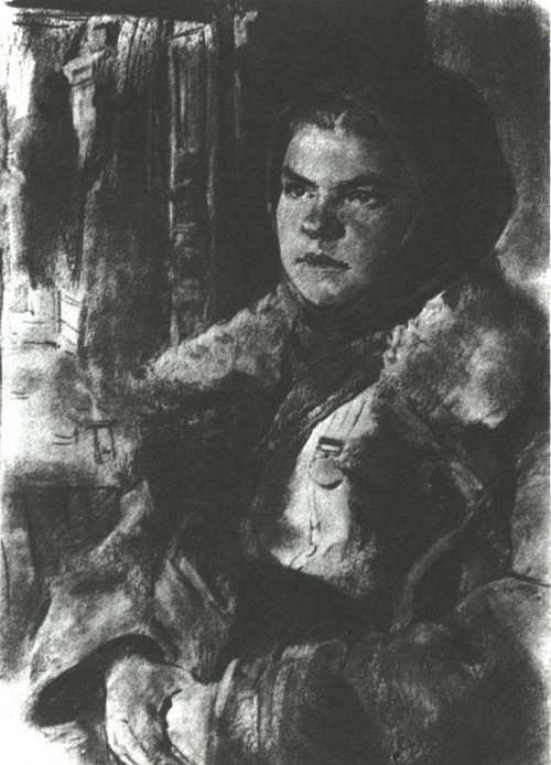 P. Malkov. Partisan comrade Sinitsyna, secretary of the Komsomol district committee in 1942. Drawing from nature. Sangin. 1942