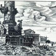 P.A. Shillingovsky. Rostral column. Woodcut. 1922