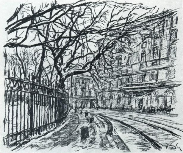 P.V. Lvov. Keningrad. Mikhailovskaya square. Lithography. 1936