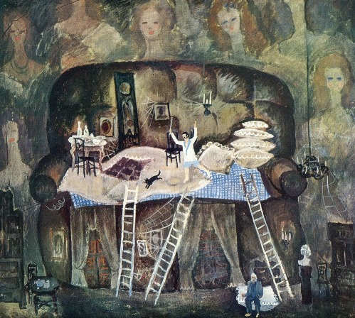 PV Tolstoshein (born 1947 Moscow). Design for comedy 'The Marriage' by NV Gogol. 1973. Tempera on canvas