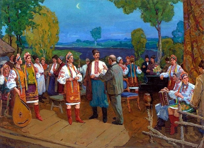 Pavel Fyodorovich Redin (1917-1992). Folk performance (Artistic amateur performance, 1970)