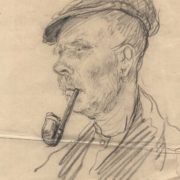 Pencil drawing. Portrait of a man with a pipe