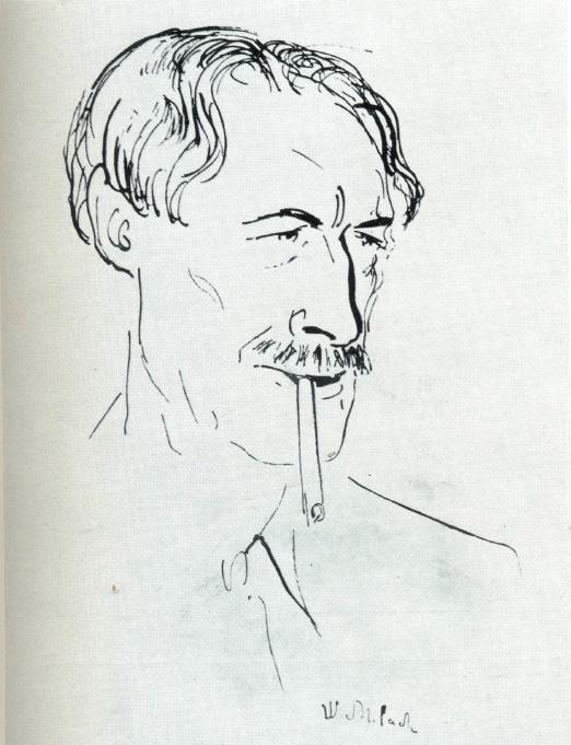 Portrait of Henri Barbusse. Ink, feather, 1933