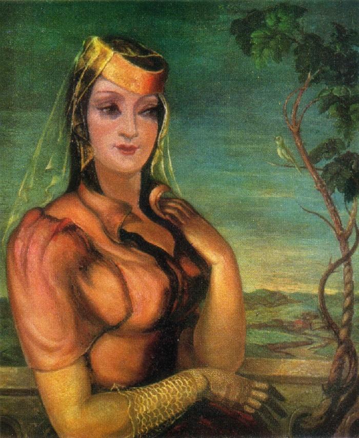 Portrait of Manana Shotadze. 1937. Oil on canvas. State museum of Peoples of the East. Lado Gudiashvili (1896-1980)