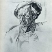 Portrait of V.A. Antonov-Ovseyenko. Pencil. (signed - this drawing made by me in 1946 from original of 1924). Yu. Annenkov