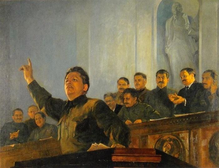 Pyotr Belousov (1912-1989). Kirov speaking at the tribune of XVII congress of the CPSU. 1930s
