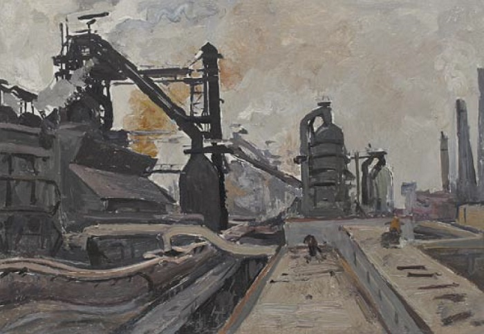 Pyotr Bortnov (1918). At the Taghil plant. 1969. oil on canvas