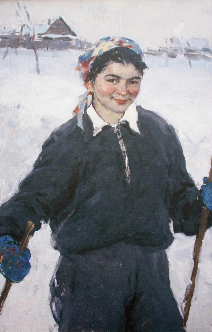 Rashit Nurmukhametov. Skier. Svetlana walking. 1957