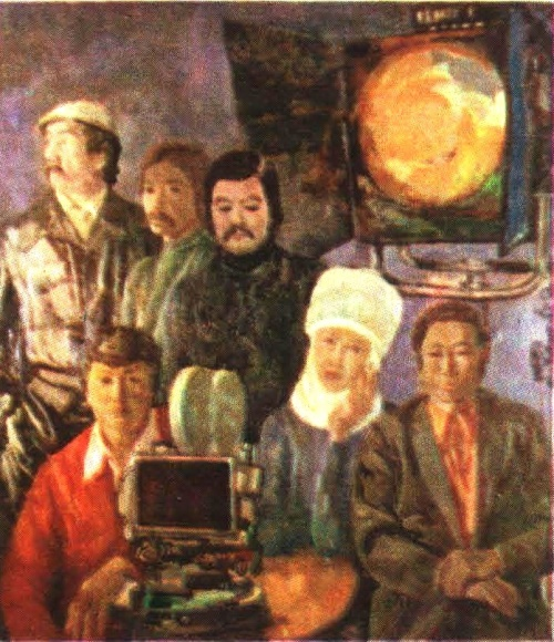 S. Chokmorov. Kyrgyz cinematographers. Oil. 1981