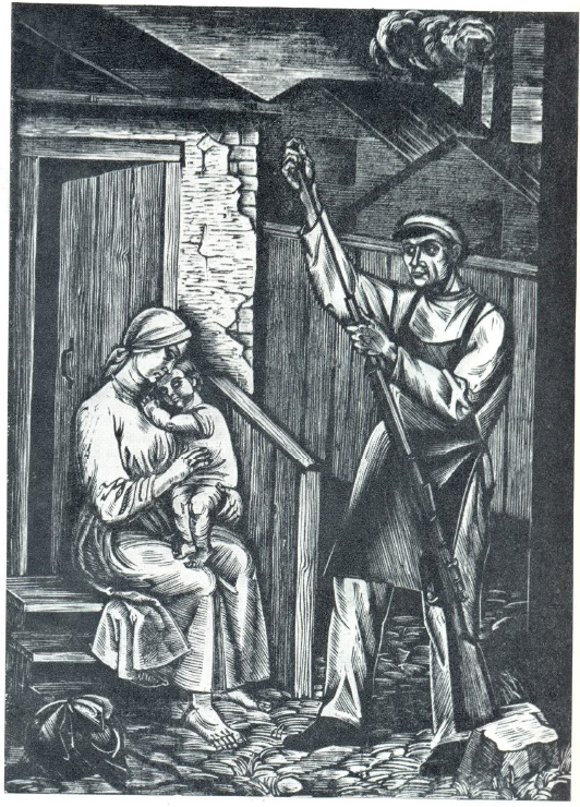 S.A. Nalepanskaya-Bonchuk. Before White comes. Woodcut. 1927