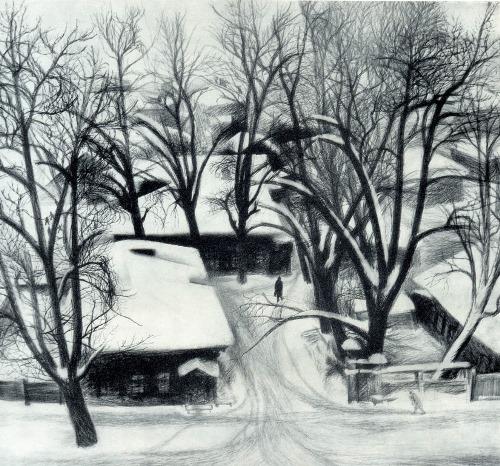 SN Garashchuk (born 1942 Irkutsk) Old Trees. 1976. Pencil on paper